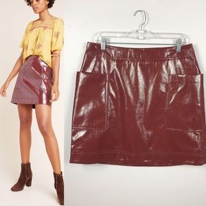 NWT✨ANTHRO's Faux Patent Leather Skirt Burgundy 12